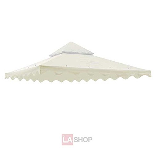 """Sturdy 10' Foot/ 121"""" Inch Square Ivory Poly-vinyl Garden Canopy Gazebo Replacement Top Two-tier"""