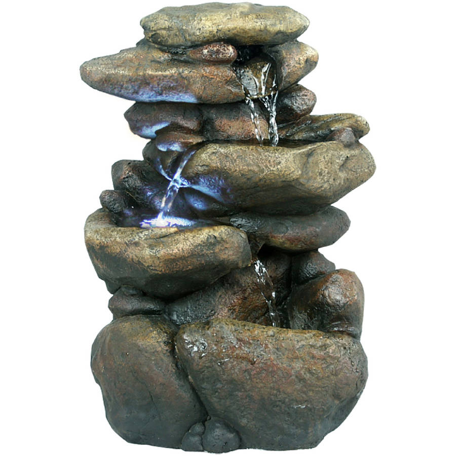 "11"" Tiered Rock Tabletop Fountain with LED Lights"