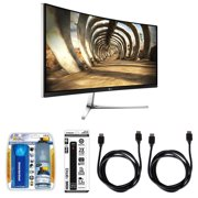 "LG IPS 34"" 3440X1440 Curved UltraWide QHD LED-Lit Monitor Display (34UC97-S) with Xtreme Performance TV/LCD Screen Cleaning Kit, Xtreme 6 Outlet Power Strip & 2x General Brand HDMI to HDMI Cable 6'"