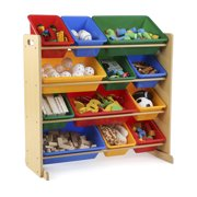 Humble Crew Kids Toy Storage Organizer with 12 Plastic Bins, Multiple Colors