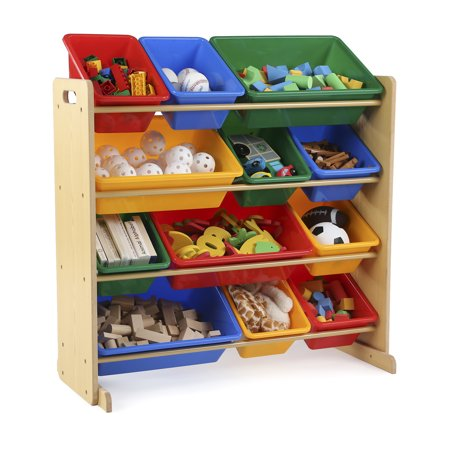 Tot Tutors Kids Toy Storage Organizer with 12 Plastic Bins, Multiple Colors - Chest Box