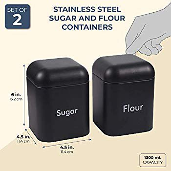 Kitchen Canister Set 2 Piece Stainless Steel Sugar And