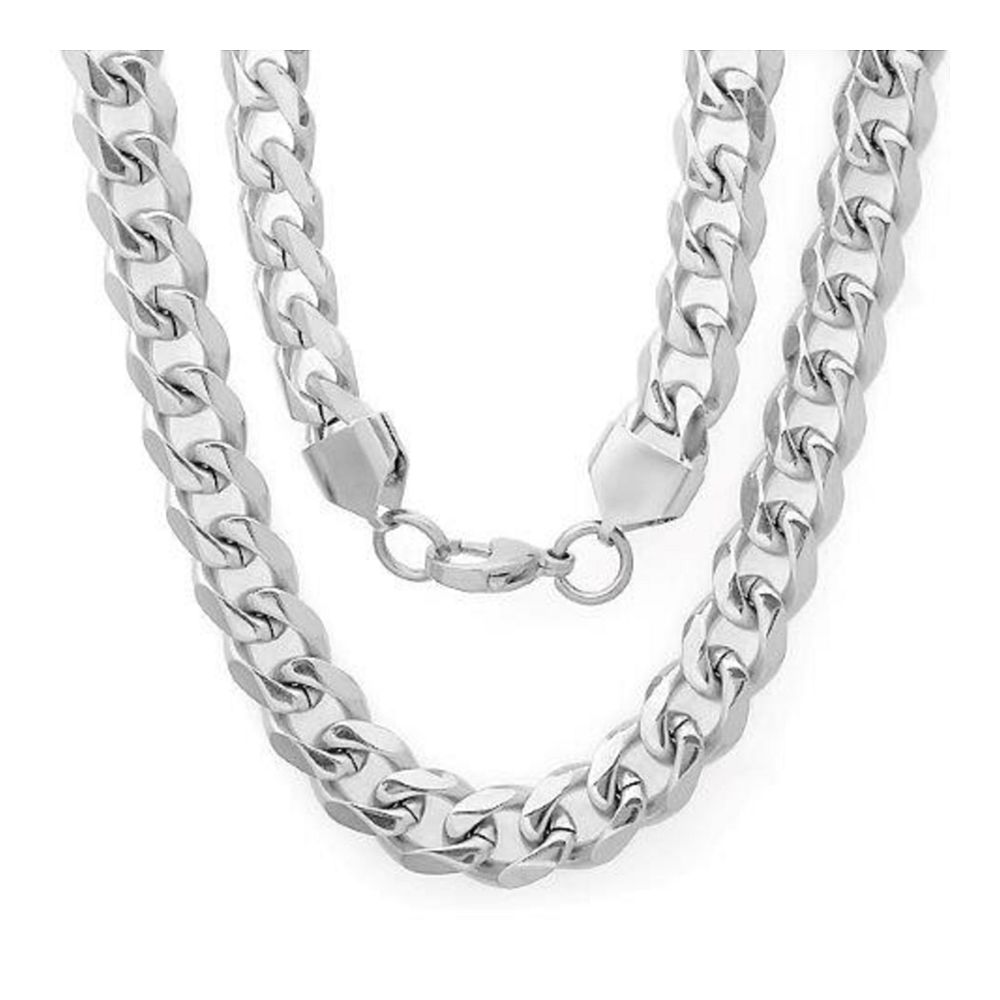 "24 Inch Flat Cuban Stainless Steel Chain Necklace with Lobster Clasp (1/2"" Wide)"