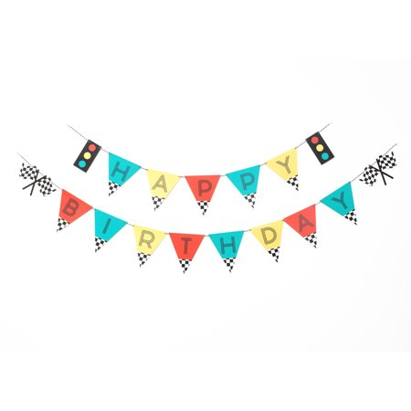 Vintage Race Car, Happy Birthday Banner, 17 Pennants, Paper, 2 Strands - Race Car Birthday