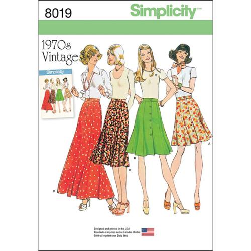 SIMPLICITY MISSES' VINTAGE 1970'S SKIRTS-16-18-20-22-24