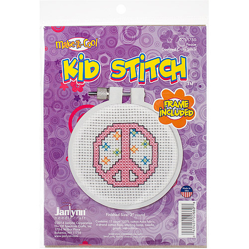 "Kid Stitch Peace Mini Counted Cross-Stitch Kit, 3"" Round, 11-Count"