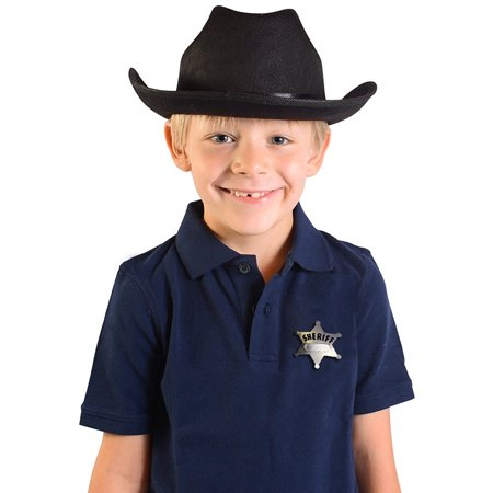 Child's Black Country Cow Boy Cowboy Hat With Badge Accessory - Cowboy Hat Black