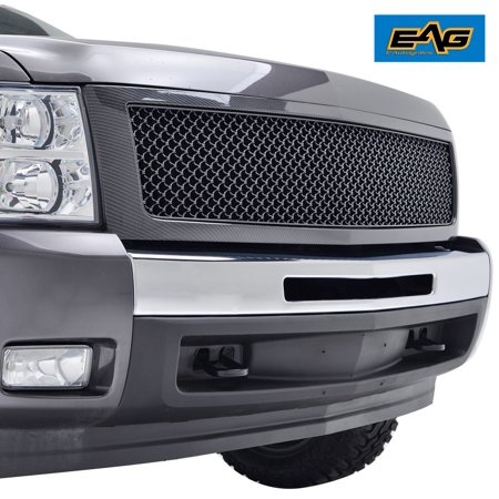 EAG ABS Main Upper Hood Replacement Mesh Grille in Carbon Fiber Look - fits 07-13 Chevrolet Silverado 1500