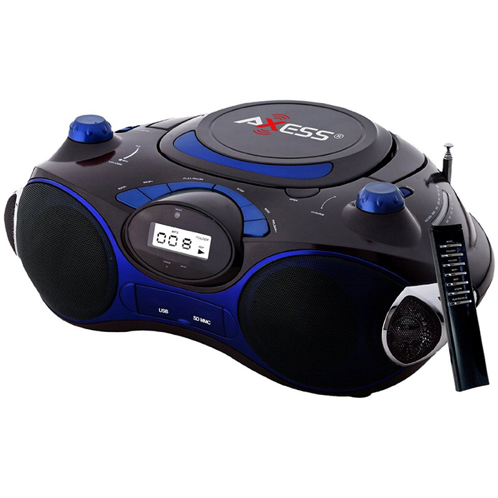 Axess Portable Boombox with AM/FM Radio and MP3/CD Player