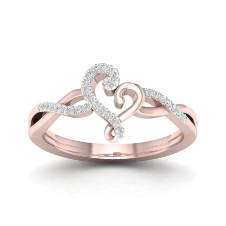 1/10Ct TDW Diamond 10K Rose Gold Abstract Heart Fashion