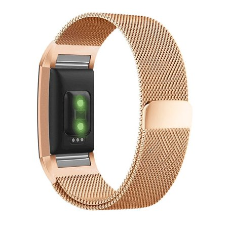 Moretek Milanese Loop Stainless Steel Replacement Accessories Magnetic Metal Small Bands for Fitbit Charge 2 ( 5.5-6.7
