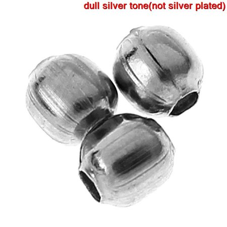 1000 Pcs, Stainless Steel Round Spacer Beads Silver Tone