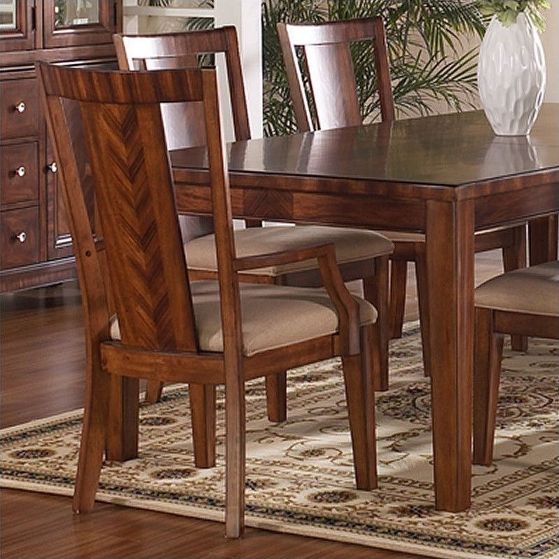 Somerton Runway Panel Back Arm Chair in Warm Chestnut (set of 2)