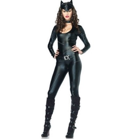 Leg Avenue Women's 3 Piece Frisky Feline Catsuit Costume, Black, Small (Womens Cat Suits)