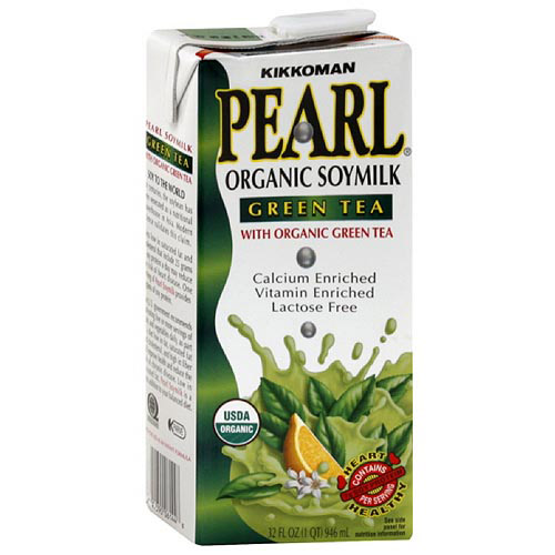 Kikkoman Pearl Organic Green Tea Soymilk, 32 oz (Pack of 12)
