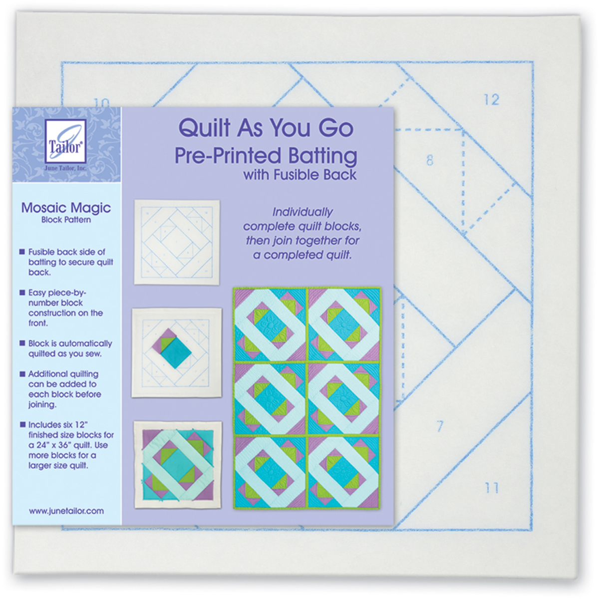 June Tailor Quilt As You Go Printed Quilt Blocks On Batting-Mosaic Magic