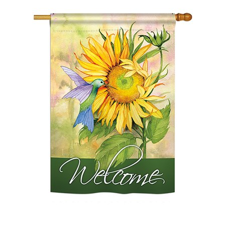 Sunflower with Hummingbird Spring - Everyday Impressions Decorative Vertical House Flag - Printed in USA Usa Flag Print