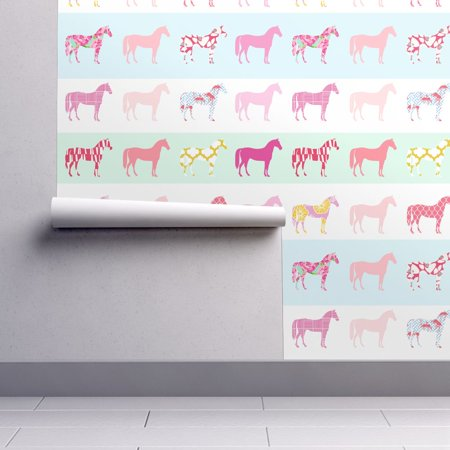 Peel-and-Stick Removable Wallpaper Preppy Ponies Preppy Rainbow Horse Stripes ()