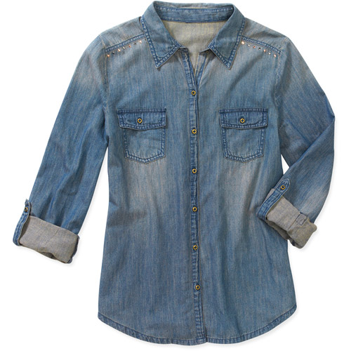 L.E.I. Juniors Studded Denim Shirt