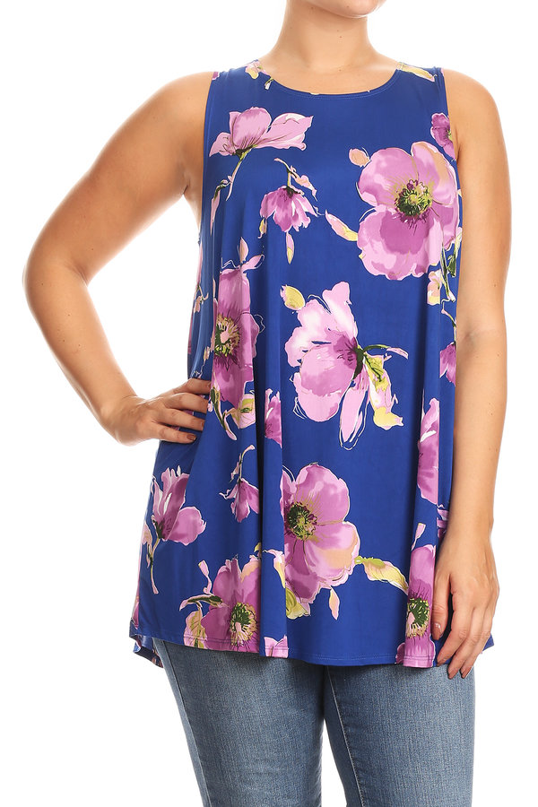Plus Size Women's Sleeveless Print Tunic Top