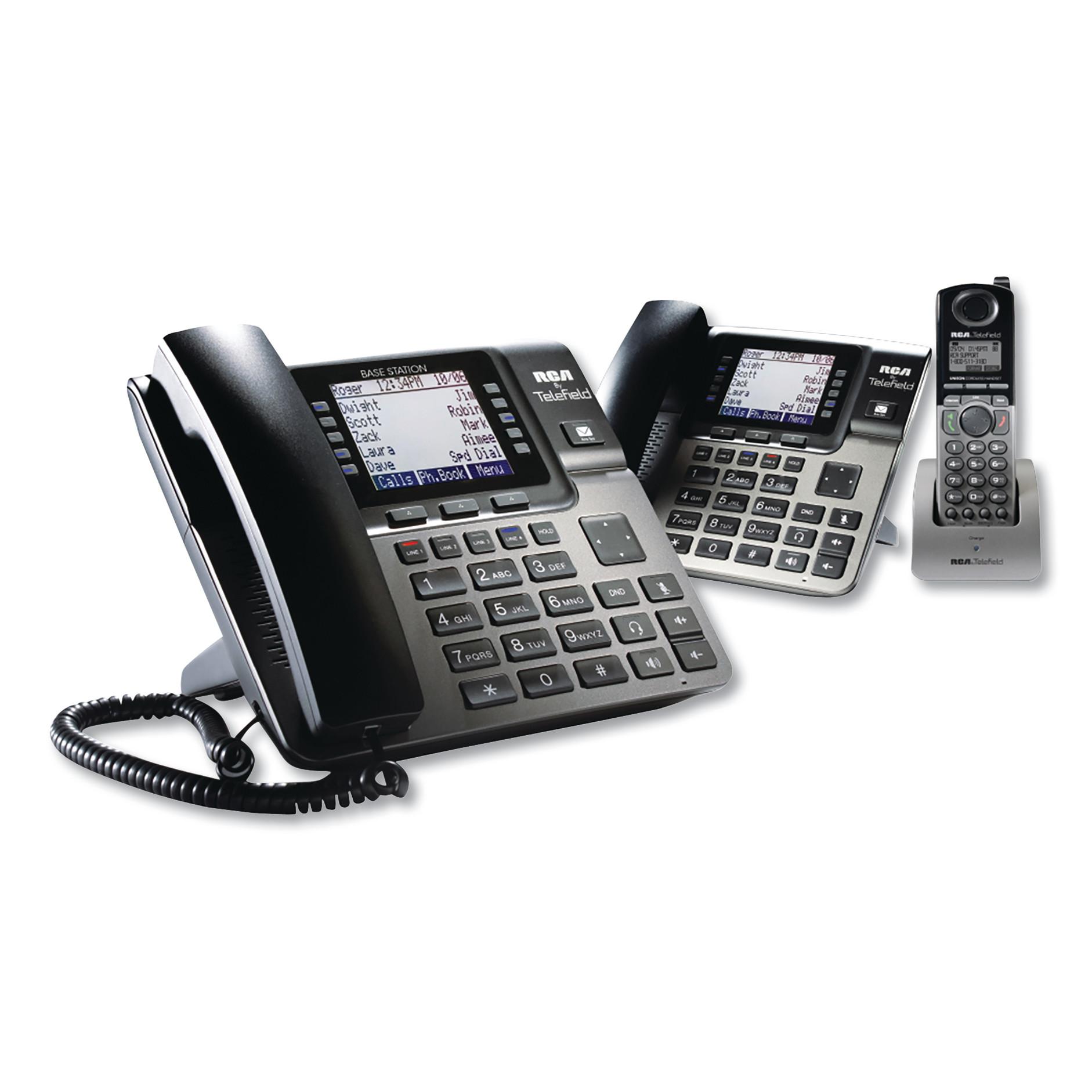 Unison 1-4 Line Wireless Phone System Bundle, w/ 1 Deskphone, 1 Cordless Handset