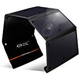 GRDE Solar Panel Charger 24W Folding Solar Charger Portable for Outdoor Activities with Dual USB for iPhone iPad Samsung and