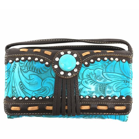 Texas Concho (Texas West Rhinestone Concho Floral Embroidery Fringe Womens Wallet In Multi Colors)
