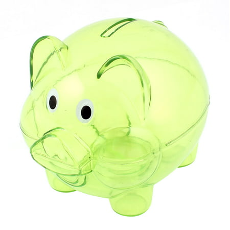 Unique Bargains Clear Green Plastic Collectible Piggy Bank Coin Savings Money Cash Safe Box Case (Plastic Piggy Bank)