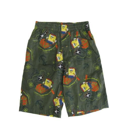 Nickelodeon Little Boys Olive Green SpongeBob Allover Print Cotton Shorts 4-7