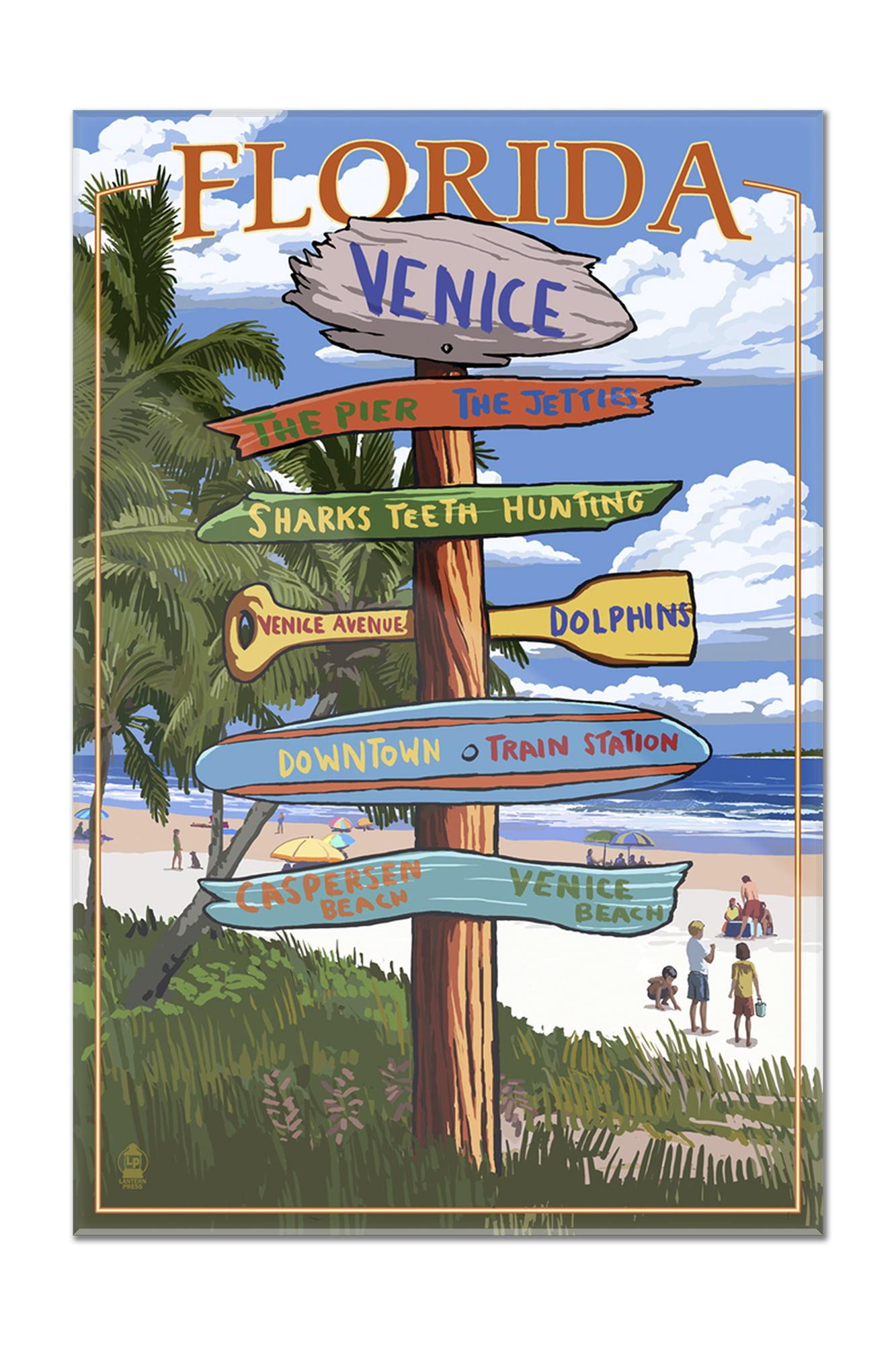 Venice, Florida Sign Post Lantern Press Artwork (8x12 Acrylic Wall Artwork Gallery Quality) by Lantern Press