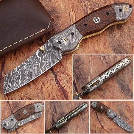 White Deer Unique Damascus Steel Tanto Wharncliffe Folding Knife Micarta Handle