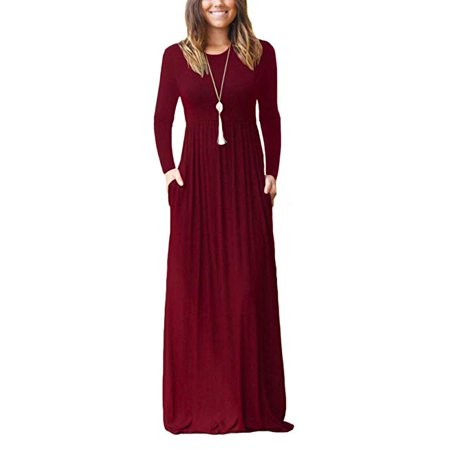 Women Long Sleeve Loose Plain Maxi Pockets Dresses Casual Long Dresses - Long Sleeve Flapper Dress