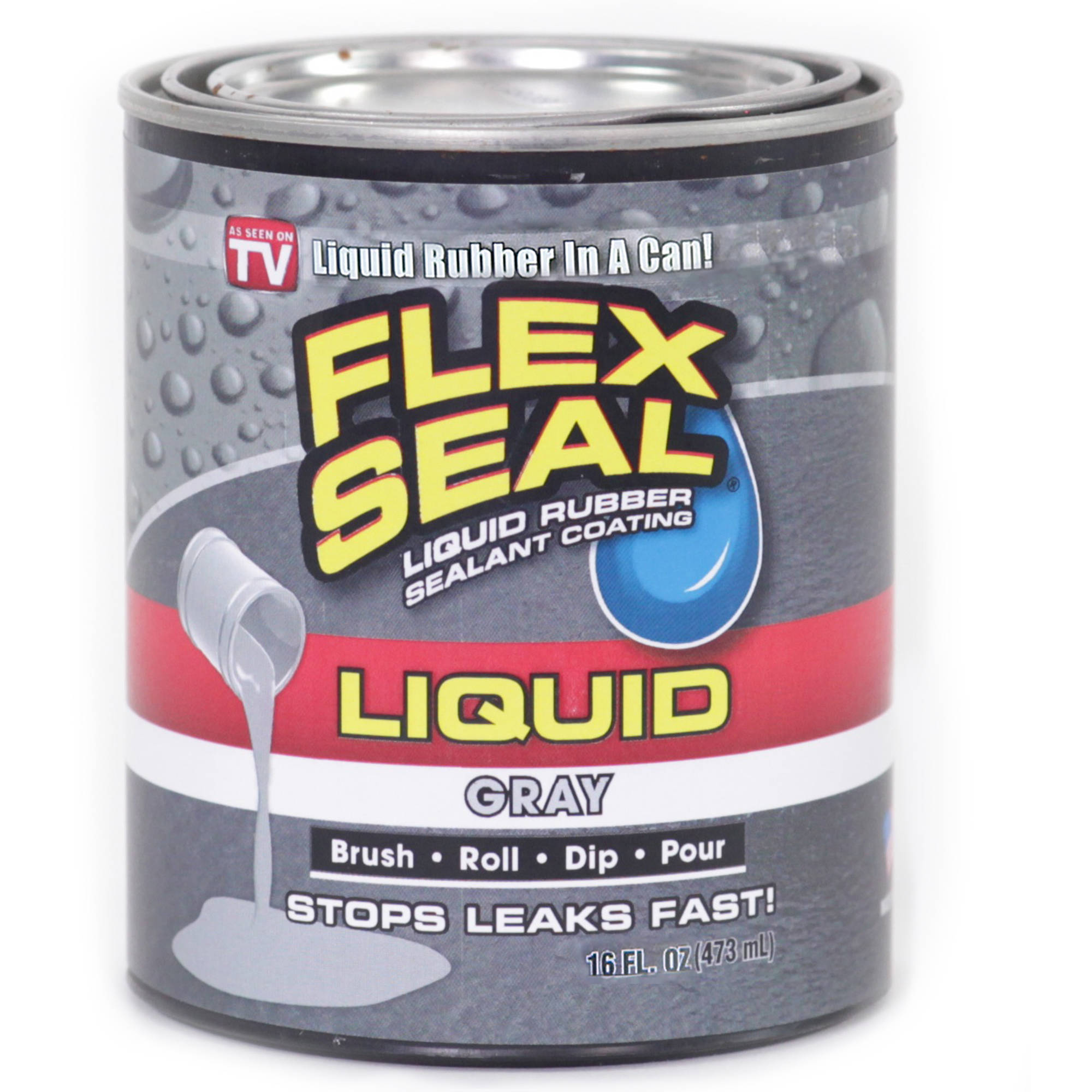 As Seen on TV Flex Seal Liquid Rubber Sealant Coating in a Can Gray, 1 Pt.