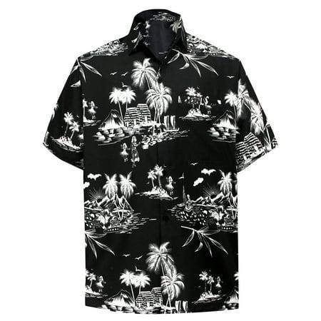 HAPPY BAY Palm floral Casual Button Down Short Sleeve Hawaiian Aloha Beach Shirt Men (Palms Hawaiian Shirt)