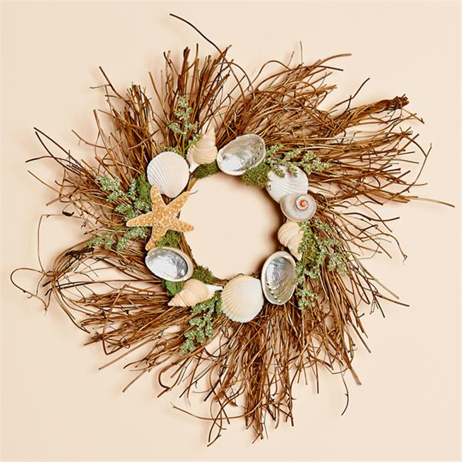 Harvest of Barnstable SSW12 12 inch Natural Twig Wreath With Shells And Meadow Grass Sea Stars