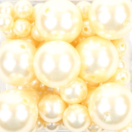 Koyal Wholesale Ivory 80 Piece Floating Pearl Beads In Transparent Water Gels, Wedding Floating Candle - Ivory Pearls