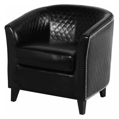 Mia Black Leather Quilted Club Chair