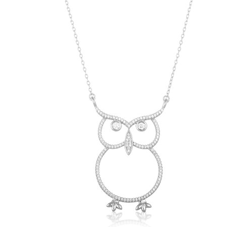 """Women's Sterling Silver Rhodium Cubic Zirconia Owl Necklace, 16"""""""