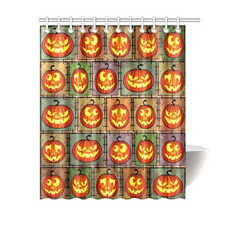 GCKG Halloween Shabby Funny Pumpkin Shower Curtain, Jack Lantern Polyester Fabric Shower Curtain Bathroom Sets 60x72 Inches - image 3 of 3