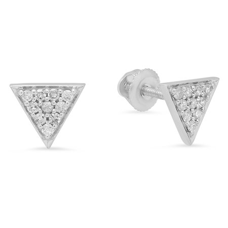 Dazzlingrock Collection 0.20 Carat (ctw) 14K Round Cut Diamond Ladies Triangle Shape Stud Earrings 1/5 CT, White Gold 14k 0.01 Ct Diamond