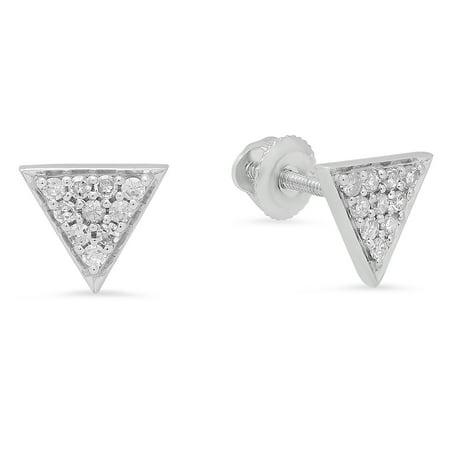 Dazzlingrock Collection 0.20 Carat (ctw) 14K Round Cut Diamond Ladies Triangle Shape Stud Earrings 1/5 CT, White Gold