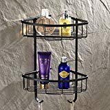 Wall Mounted 2 Tiers Dual Corner Shower Caddies Storage Tub and Shower Soap Wire Basket Cosmetic Holder Towel