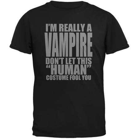 Costume Black Adult T-shirt - Halloween Human Vampire Costume Black Adult T-Shirt