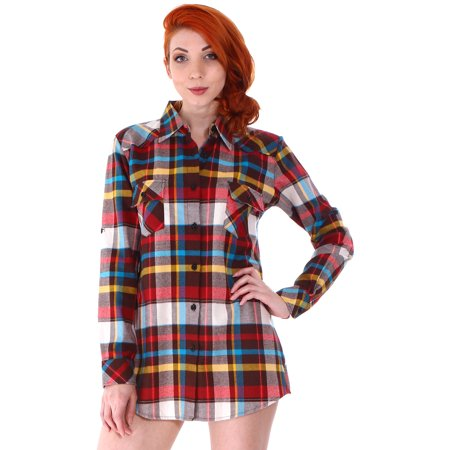 73906716 Simplicity - Junior's Roll Up Sleeve Plaid Flannel Shirt Blouse Button Down  Top,Rainbow - Walmart.com