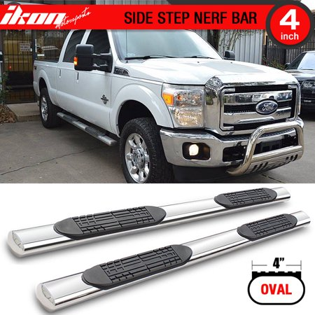 - Ikon Motorsports Running Boards for 96-16 F250 F350 450 550 Supercrew Cab 4Inch Stainless Steel
