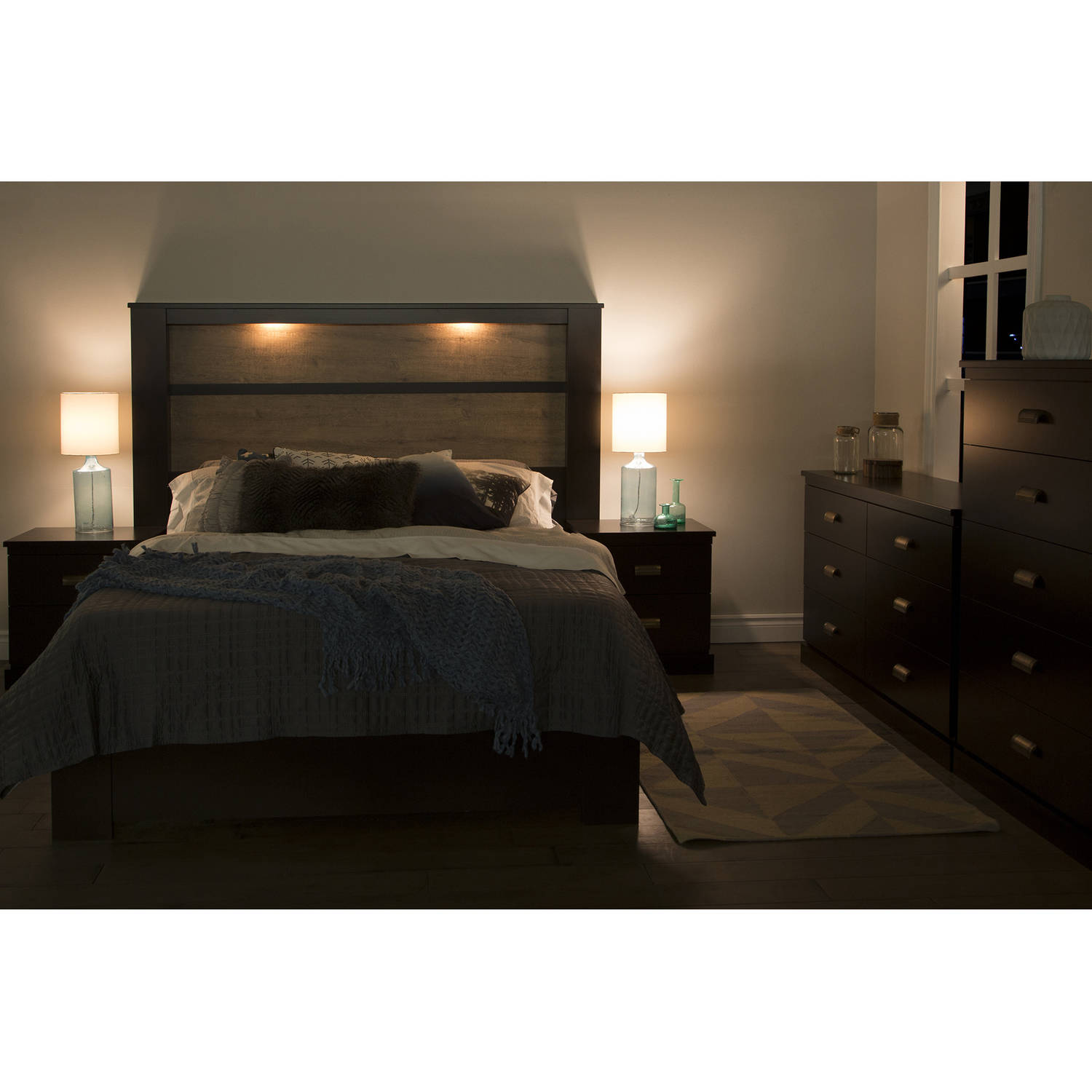 "South Shore Gloria King Headboard with Lights 78"" Multiple"
