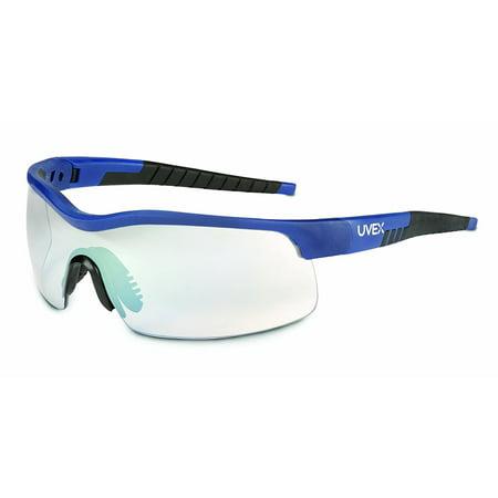 SX0104 VersaPro Safety Eyewear SCT-Reflect 50 Supra-Dura Hardcoat Lens, Blue and Black Medium Frame, Sleek, Streamlined Lens Provides Excellent Coverage And Protection By Uvex (Provides Medium Coverage)