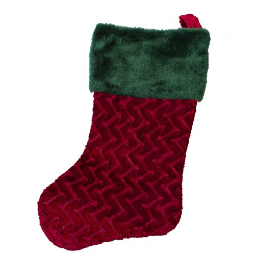 Plush Red Stocking with Green Top