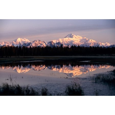 Southside Mt Mckinley And Alaska Range Reflected In Unnamed Lake Canvas Art   Jeff Schultz  Design Pics  34 X 22