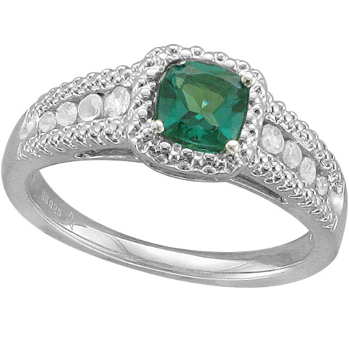 .78 Carat T.G.W. Cushion-Shaped Emerald and White Sapphire Fashion Ring in Sterling Silver